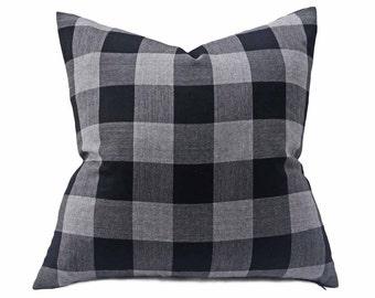 Buffalo Plaid Pillow, Buffalo Check Pillow, Decorative Pillow, Sofa Pillows, Black Cushions, Gray Wool Pillows, Black Grey Pillow, 12x20, 18