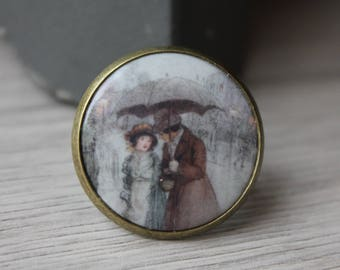 """vintage ring, """"at time of the Impressionists"""" porcelain, adjustable brass cabochon paint"""