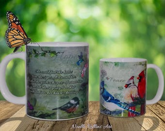 Signs from Heaven Coffee tea mug - features cardinals messages of love hope joy peace chickadee bluejay hummingbird butterfly memorial mug