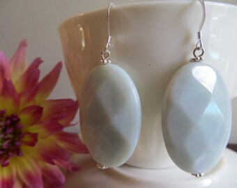 Amazonite Earrings, Sterling Silver Earrings, Mint Blue Semi-precious Gemstones Large Statement Earrings, Stone Earrings, Silver Earrings