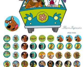 Scooby doo - 1/2 inch or 12 mm Images 4x6 Digital Collage INSTANT DOWNLOAD