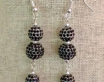 Triple Jet Black Pave Crystal Dangle Earrings, Black Silver Drop Earrings, Gold CZ Pave Earrings