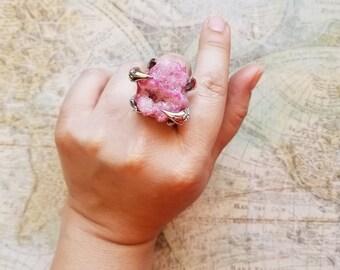 Pink Angel Aura Quartz Ring, Pink Crystal Ring, Crystal Quartz Ring, Birthday Gift, ladies Statement Ring