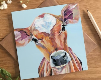 Cute Calf - Valentine's Card - Jersey Cow Painting - Juliet - Baby Blue - Card for Farmer - Card for Vet - Cow Painting - Made in UK