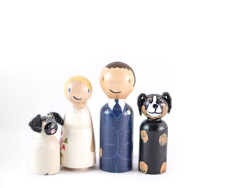 Custom Peg People Cake Topper with 2 dogs - couple with two dogs wedding cake topper - cute dog cake topper - dog lovers cake topper