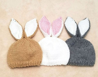 Bunny Baby Hat   Bunny Newborn Hat / Baby Bunny Hat / Spring Baby Hat / Rabbit Baby Hat / Newborn Photo Prop / Baby Shower Gift