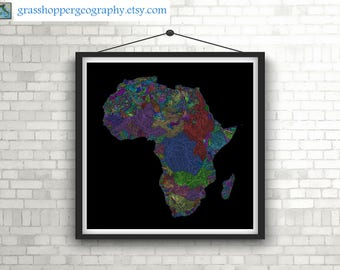 River basins of Africa in rainbow colours (high resolution digital print) map print, wall art, poster map, printable, home decor, wall decor