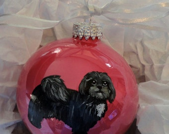 Havanese Dog Hand Painted Christmas Ornament - Can Be Personalized with Name