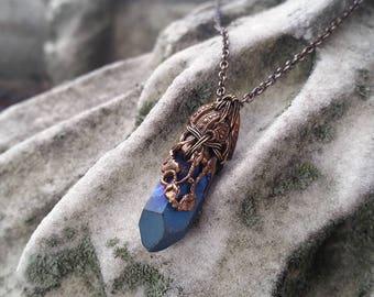 Celestial Quartz - Crystal and Filigree Brass Pendant