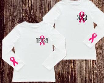 Breast Cancer Survivor Shirt / Pink Ribbon Mongram shirt /  Survivor shirt / survivor / breast cancer shirt