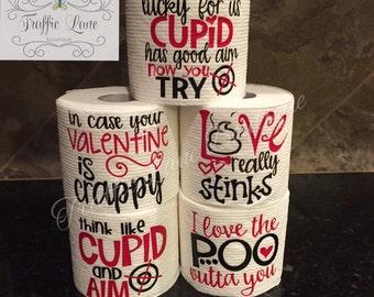 Gag Gift Toilet Paper, Valentine Gag Gift Toilet Paper, Gag Gift for Men, Gag Gift for Women, Funny Gag Gift, Bathroom Decor, Valentine