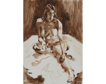 Seated Recline (December 2013) original oil painting nude female model mature