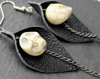 Howlite skull leather and chain earrings