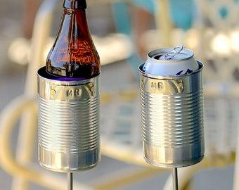 MR & MR- 2 Hobo Tin Can Beer Holders/ Garden Drink Holders/ Gay Wedding Gift/ Tin Anniversary Gift/ 10 Year Anniversary Present