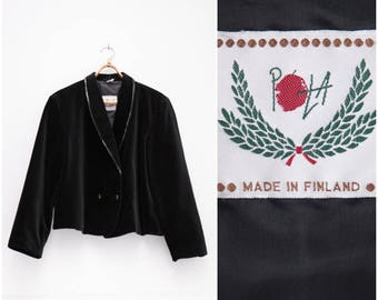 80s Velvet Blazer Womens Large Black Velvet Blazer Plunge Neck Double Breasted Blazer Sequinds Deep Neckline Blazer Black Velvet Jacket L
