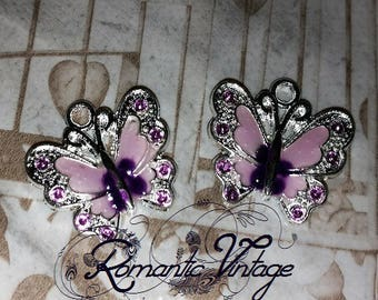 """pretty 2 charms, enameled butterflies """"purple"""" pendant and silver plated 21mm"""