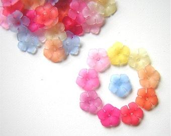 36 Acrylic Spring Flower Beads Pastel Assortment 12x3mm