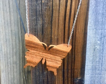 Mora Wood Butterfly Necklace Exotic Wood