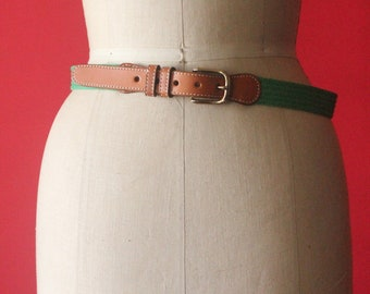 Vintage 80's Green Woven Fabric and Caramel Brown Leather Belt with Brass Buckle, size M