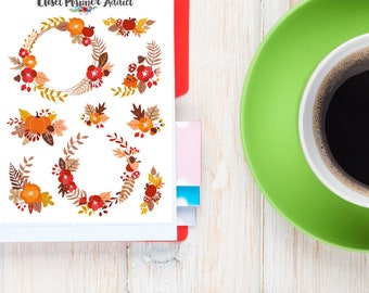 Autumn Fall Floral Wreaths Planner Stickers | Autumn Fall Stickers | Pumpkin Stickers | Floral Stickers | Wreath Stickers (S-229)