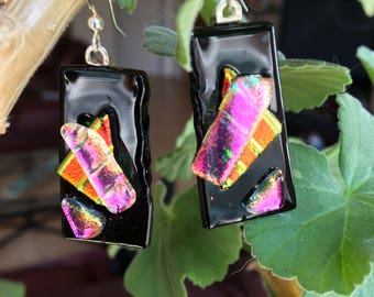 Pink, Red and Black Rectangle Fused, Dichroic Glass Earrings