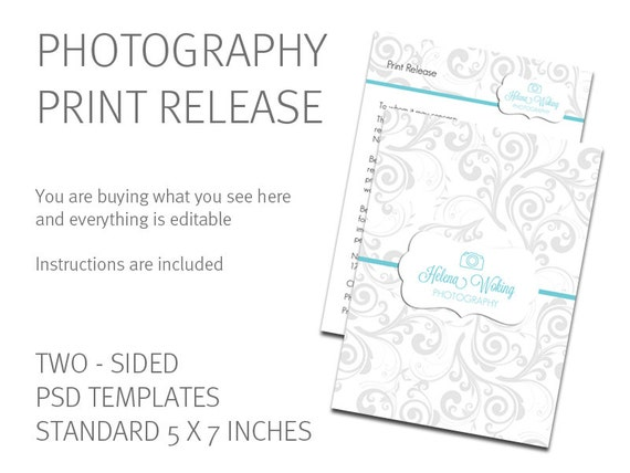 Print Release Template Photography Print Release Card