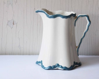 Vintage Blue and White Pottery Pitcher ~ Ewer, Milk Pitcher
