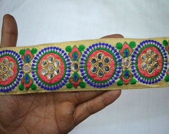 Indian Laces Crafting Trim By The Yard fabric trims and embellishments Embroidered Trim Decorative Sari Border Sewing Trimmings