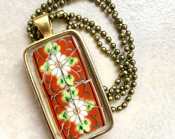 Sunday Brunch - Mosaic Pendant, Broken China Pendant - SHIPS FREE to Continental United States