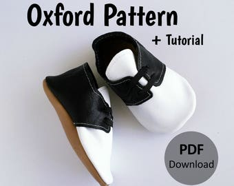 INSTANT DOWNLOAD Leather Baby Oxford Pattern // Leather Oxfords Pattern // Oxford Pattern Download // Shoe Pattern // Baby Shoe Patterns //