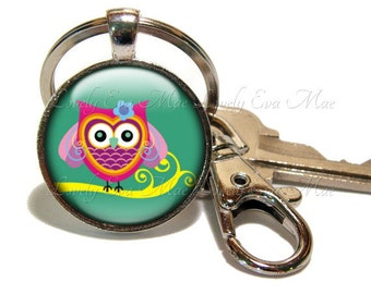 Owl Keychain, Owl Key Chain, Owl Key Ring, Owl Key Fob, Pink & Green Keychain, Keychain with Clip, Key Fob with Clasp, Swivel Hook