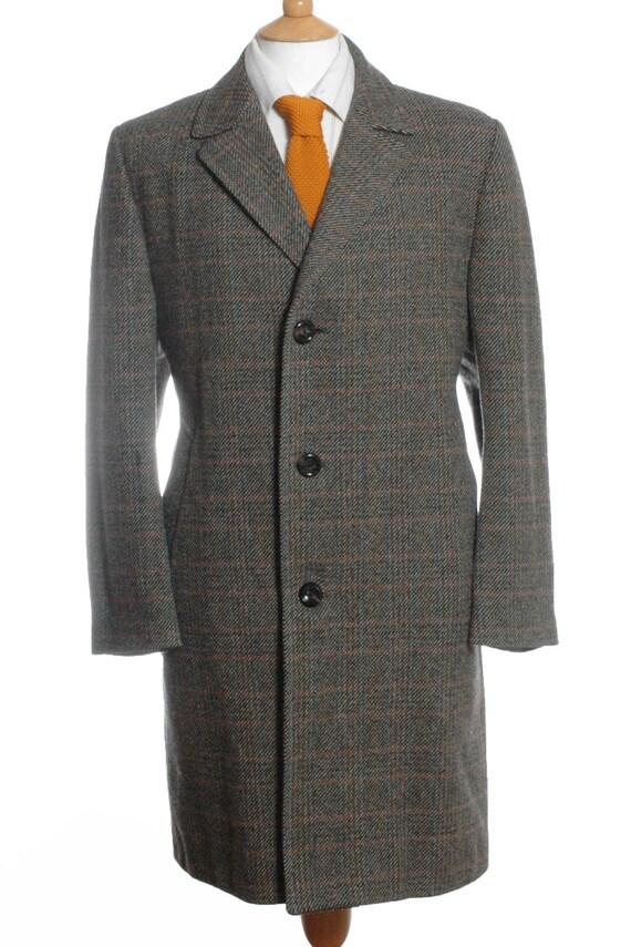 Vintage Dhobi Grey Check Tweed Wool Coat L - www.brickvintage.com DNzmY7rN