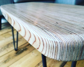Birch Plywood Coffee Table with Hairpin Legs