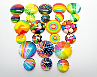 Rainbow Cabochons, Pack of 12 or 30, 16mm or 10mm, Glass Cabochons, Rainbow Jewelry, 12 Designs, Mixed Color, Cabochon Jewelry, UK Seller
