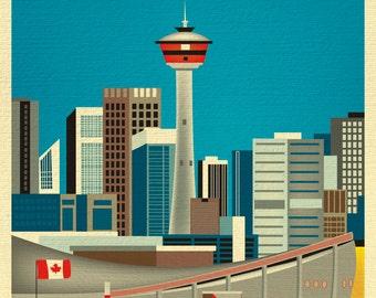 SALE Calgary 8x10 Skyline Print, Canada Travel Poster,  Calgary print, Calgary Vertical Wall Art -Home, Office, and Nursery - style E8-O-CAL