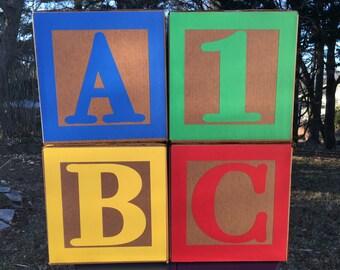 Sesame Street Birthday Party Centerpiece, Large ABC Blocks and Number Block, Elmo Birthday, 1st Birthday, Sesame Street Inspired Colors