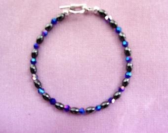 Women's Hematite and blue AB crystal bracelet