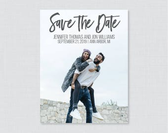 Printable OR Printed Photo Save the Date Cards - Casual Hand-Lettered Save our Date Cards for Wedding, Modern Picture Save the Dates 103