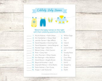celebrity baby names matching game card printable clothes line baby boy blue baby clothes baby shower digital games - INSTANT DOWNLOAD