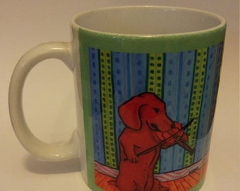 25% off dachshund art - dachshund playing the violin dog art mug cup 11 oz gift - dachshund gifts