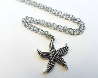 Starfish necklace, antique silver charm on chain, nautical