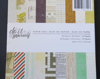 """American Crafts Do It Yourself Pad - 6""""x 6"""" - 36 papers"""