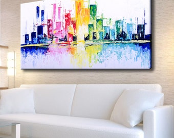 Abstract painting, Art office decor, Landscape Painting, Cityscape, City art, Abstract Landscape, Abstract Landscape Painting, City painting