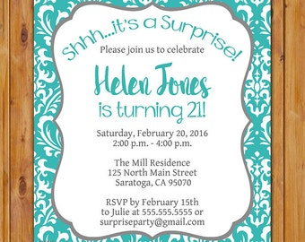 Teal Blue Birthday Party Invitation Surprise Damask 21st 30th 590th Any Age Women's 5x7 Digital JPG Printable (422)
