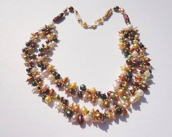 colorful necklace, double strand pearl necklace, beaded pearl necklace, freshwater pearl necklace, multi strand necklace, pearls for women