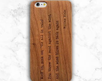 William Blake Quote Phone Case, Literary Gift, Wood Phone Case for Poet, iPhone 7 Plus, 6s, SE, Galaxy S8 Plus, S8, S7 Edge, S6, Wooden