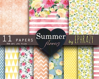 Rose digital paper. Floral digital paper. Roses digital paper. Shabby chic. Summer paper. Watercolor rose. Lace paper. Wedding