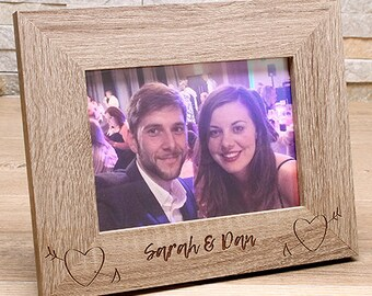 7x5 Personalised Picture Frame. Laser Etched Desktop Frame. Couples Photo Frame. Personalised Family Frame. Wedding Gift