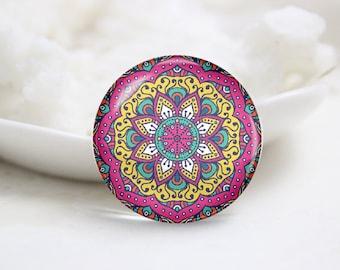 Handmade Round kaleidoscope Photo Glass Cabochons (P3751)