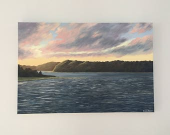 """The Navesink River As Seen From McLoone's - Original acrylic artwork - 24"""" x 18"""" or 36"""" x 24"""""""